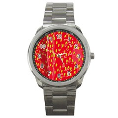 Fruit Seed Strawberries Red Yellow Frees Sport Metal Watch by Mariart