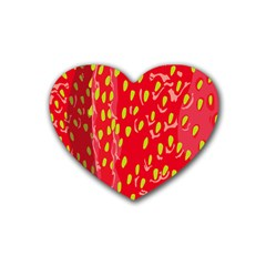 Fruit Seed Strawberries Red Yellow Frees Rubber Coaster (heart)  by Mariart