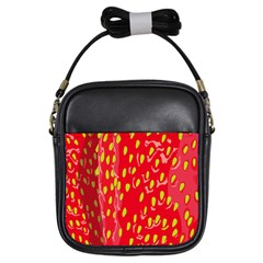 Fruit Seed Strawberries Red Yellow Frees Girls Sling Bags by Mariart
