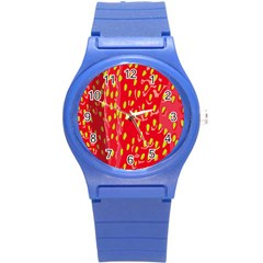 Fruit Seed Strawberries Red Yellow Frees Round Plastic Sport Watch (s) by Mariart