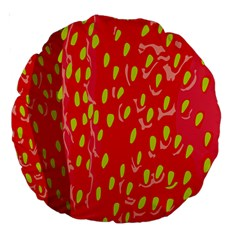 Fruit Seed Strawberries Red Yellow Frees Large 18  Premium Round Cushions by Mariart