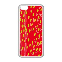 Fruit Seed Strawberries Red Yellow Frees Apple Iphone 5c Seamless Case (white) by Mariart