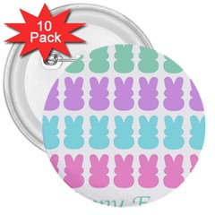 Happy Easter Rabbit Color Green Purple Blue Pink 3  Buttons (10 Pack)  by Mariart