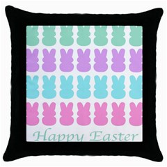 Happy Easter Rabbit Color Green Purple Blue Pink Throw Pillow Case (black)