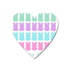 Happy Easter Rabbit Color Green Purple Blue Pink Heart Magnet by Mariart