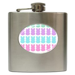 Happy Easter Rabbit Color Green Purple Blue Pink Hip Flask (6 Oz) by Mariart