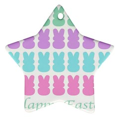 Happy Easter Rabbit Color Green Purple Blue Pink Star Ornament (two Sides)