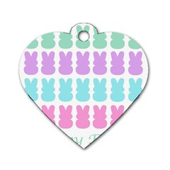 Happy Easter Rabbit Color Green Purple Blue Pink Dog Tag Heart (two Sides) by Mariart
