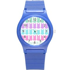 Happy Easter Rabbit Color Green Purple Blue Pink Round Plastic Sport Watch (s)