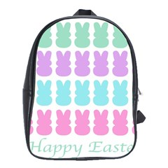 Happy Easter Rabbit Color Green Purple Blue Pink School Bags (xl)  by Mariart