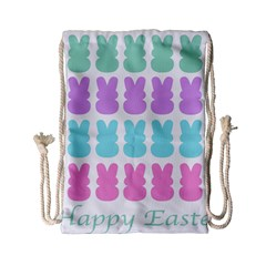 Happy Easter Rabbit Color Green Purple Blue Pink Drawstring Bag (small) by Mariart