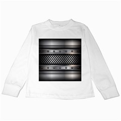 Iron Content Hole Mix Polka Dot Circle Silver Kids Long Sleeve T Shirts