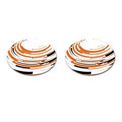 Hole Black Orange Arrow Cufflinks (oval) by Mariart
