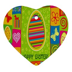 Happy Easter Butterfly Love Flower Floral Color Rainbow Ornament (heart) by Mariart