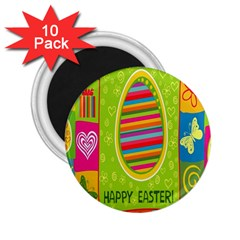 Happy Easter Butterfly Love Flower Floral Color Rainbow 2 25  Magnets (10 Pack)  by Mariart