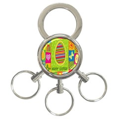 Happy Easter Butterfly Love Flower Floral Color Rainbow 3 Ring Key Chains by Mariart