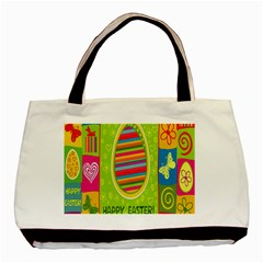 Happy Easter Butterfly Love Flower Floral Color Rainbow Basic Tote Bag (two Sides) by Mariart