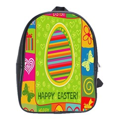 Happy Easter Butterfly Love Flower Floral Color Rainbow School Bags(large)