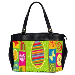 Happy Easter Butterfly Love Flower Floral Color Rainbow Office Handbags (2 Sides)  by Mariart