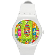 Happy Easter Butterfly Love Flower Floral Color Rainbow Round Plastic Sport Watch (m) by Mariart