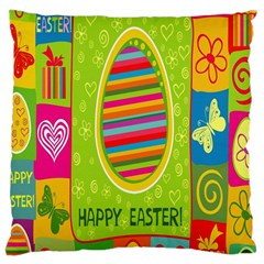 Happy Easter Butterfly Love Flower Floral Color Rainbow Large Cushion Case (two Sides)