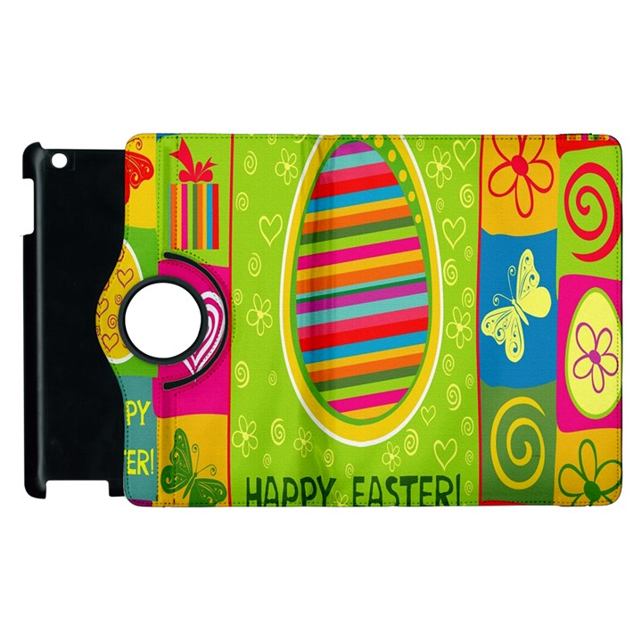Happy Easter Butterfly Love Flower Floral Color Rainbow Apple iPad 2 Flip 360 Case