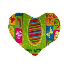 Happy Easter Butterfly Love Flower Floral Color Rainbow Standard 16  Premium Flano Heart Shape Cushions by Mariart
