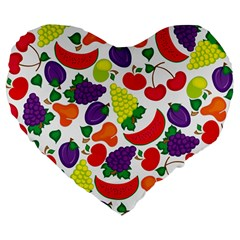 Fruite Watermelon Large 19  Premium Heart Shape Cushions by Mariart