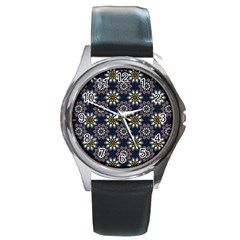 Floral Flower Star Blue Round Metal Watch by Mariart