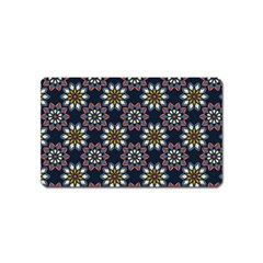 Floral Flower Star Blue Magnet (name Card) by Mariart