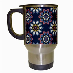 Floral Flower Star Blue Travel Mugs (white) by Mariart