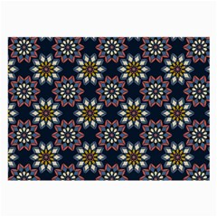 Floral Flower Star Blue Large Glasses Cloth (2 Side) by Mariart