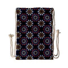 Floral Flower Star Blue Drawstring Bag (small) by Mariart