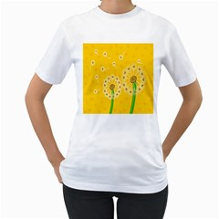 Leaf Flower Floral Sakura Love Heart Yellow Orange White Green Women s T Shirt (white) (two Sided) by Mariart