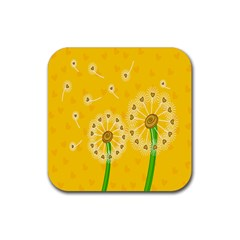 Leaf Flower Floral Sakura Love Heart Yellow Orange White Green Rubber Square Coaster (4 Pack)  by Mariart