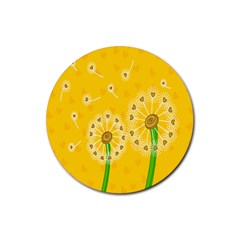 Leaf Flower Floral Sakura Love Heart Yellow Orange White Green Rubber Coaster (round)  by Mariart