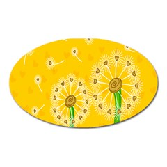 Leaf Flower Floral Sakura Love Heart Yellow Orange White Green Oval Magnet by Mariart