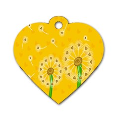Leaf Flower Floral Sakura Love Heart Yellow Orange White Green Dog Tag Heart (one Side) by Mariart