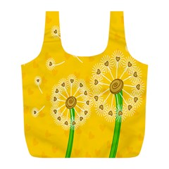 Leaf Flower Floral Sakura Love Heart Yellow Orange White Green Full Print Recycle Bags (l)  by Mariart