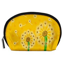Leaf Flower Floral Sakura Love Heart Yellow Orange White Green Accessory Pouches (large)  by Mariart