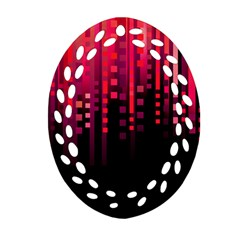 Line Vertical Plaid Light Black Red Purple Pink Sexy Oval Filigree Ornament (two Sides) by Mariart