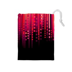 Line Vertical Plaid Light Black Red Purple Pink Sexy Drawstring Pouches (medium)  by Mariart