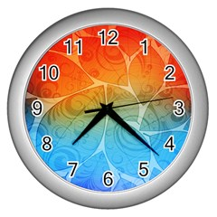 Leaf Color Sam Rainbow Wall Clocks (silver)  by Mariart