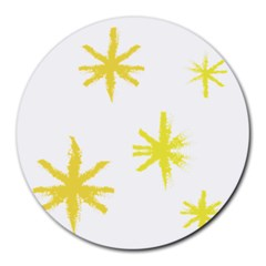 Line Painting Yellow Star Round Mousepads by Mariart