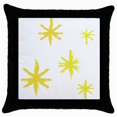 Line Painting Yellow Star Throw Pillow Case (black) by Mariart