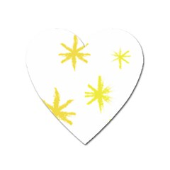 Line Painting Yellow Star Heart Magnet by Mariart