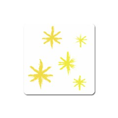 Line Painting Yellow Star Square Magnet by Mariart