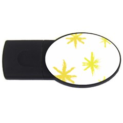 Line Painting Yellow Star Usb Flash Drive Oval (2 Gb) by Mariart