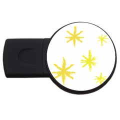 Line Painting Yellow Star Usb Flash Drive Round (4 Gb) by Mariart