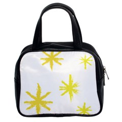 Line Painting Yellow Star Classic Handbags (2 Sides) by Mariart